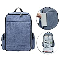Hands-Free Baby Diaper Backpack,Large Nappy Bag with Pushchair Straps,Waterproof Changing Mat,15 Pockets for Mom Dad(Purple)