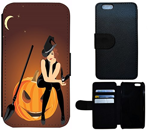 Flip Cover Schutz Hülle Handy Tasche Etui Case für (Apple iPhone 6 / 6s, 1579 Hexe Kürbis Halloween - Halloween-kürbis-designs Hexen