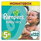 Pampers Baby Dry Windeln Gr. 5+  (13-25 kg), Monatsbox, 1er Pack (1 x 132 Stück)
