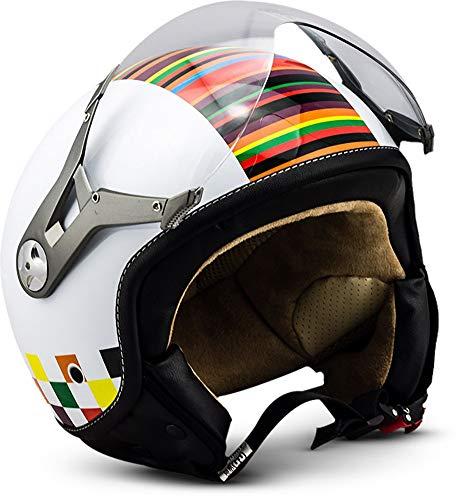 SOXON SP-325 - Casco Moto, ECE Certificado, con parasol y bolsa de casco, Blanco (Colors), XL (61-62cm)