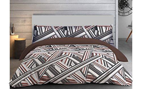 """ADP Home - Funda nórdica, juego de 3 piezas """"sticks"""" (funda de almohada, bajera ajustable y funda nórdica), diseño único, cama de 90 cm"""