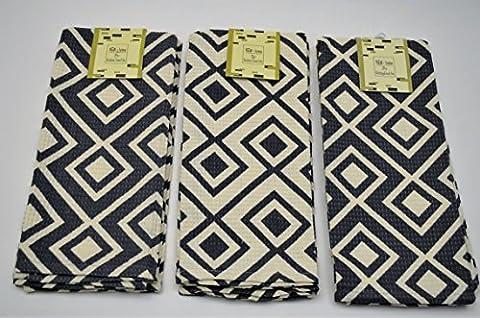 6 Serviettes de table LUXURY Broderie divers 45x70 cm (gris blanc)