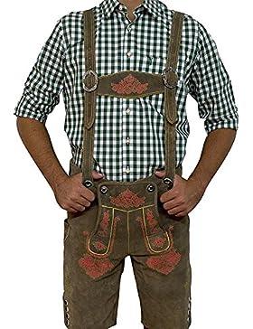 Trachten lederhose Herren, Smoke-Rot, Kurz Vintage Line Gr. 44 - 58