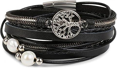 styleBREAKER Wickelarmband mit Perlen, Ketten, Flechtelement und Lebensbaum Anhänger, Magnetverschluss, Armband, Damen 05040070 , Farbe:Schwarz