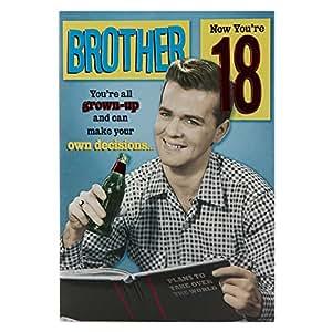 Hallmark 18th Birthday Card For Brother 'All Grown Up' - Medium