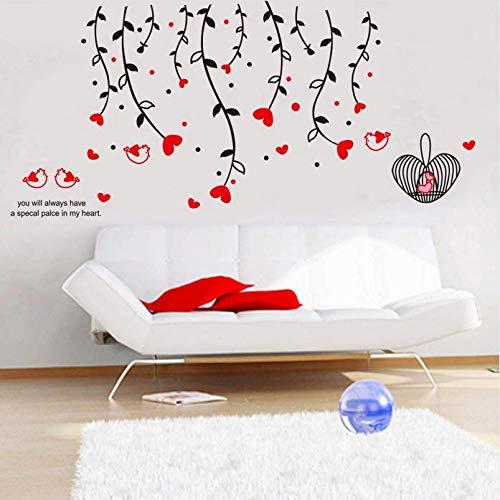 Hyllbb Mode Diy Rote Liebe Herz Blume Weinrebe Käfig Niedlichen Vogel Wandaufkleber Schlafzimmer Wohnzimmer Sofa Wand Wohnkultur Abnehmbare Kunst Aufkleber