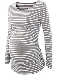 SamMoSon Mujer Maternidad Camisa De Rayas Manga Larga Basic Parte Superior Camiseta Embarazada Sujetadores y Lactancia para Ropa Dormir Camisones Camisetas Trajes baño