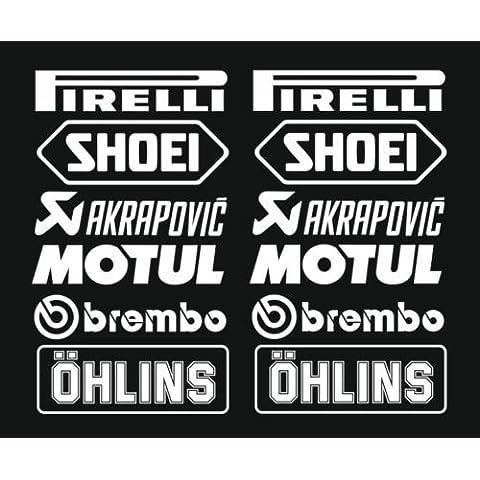 1x Set nº 3(12adhesivo blanco, Color a elegir) Tapicería akropovic sintonizador Logo 16cm Decal Tuning Pegatina para coche moto Pick