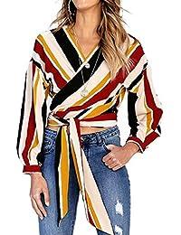 JunJunBag Blusa Floral Cardigan Mujer con Cuello V Blusas Sueltas Blusas Henley Camisas Blusas de Gasa