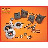Kit 4 pezzi rotelle ruota cuscinetti per box doccia Tipo A 20mm + Dimensioni Viti,dado, tappi