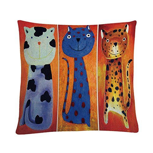 MAYUAN520 Coussins Linge De Coton 45 * 45 Taies d'animaux Chats Coussins imprimés pour la décoration de la Maison Fauteuil siège-Auto Lancer d'oreiller