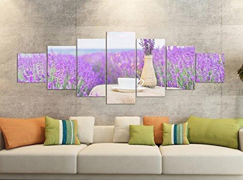 Leinwandbilder 7 Tlg 280x100cm Blume Blumen Flieder lila Vase Vintage Leinwand Bild Teile teilig Kunstdruck Druck Vlies Wandbild mehrteilig 9YB680, Leinwandbild 7 Tlg:ca. 280cmx100cm
