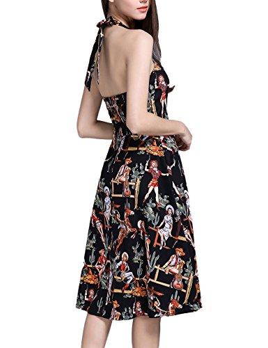 LUOUSE Damen 'Audrey Hepburn' Polka Dots Druck Holder Weinlese- Rockabilly Swing Abend Hochzeit Abschlussballkleid BlackPrint