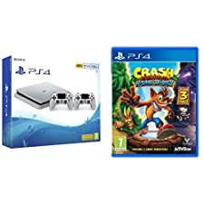 Sony PlayStation 4 (Silver 500GB) with 2 Controllers & Crash Bandicoot
