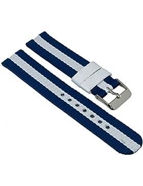 Adora Young Line Kollektion Ersatzband Uhrenarmband Textil Band 18mm blau/weiß 29065