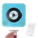 2018 Kabelloser tragbarer CD-Spieler, OXOQO an der Wand montierbarer CD-Musik-Player Heim-Audio-Boombox mit Fernbedienung FM-Radio Eingebaute HiFi-Lautsprecher, MP3-Kopfhörerbuchse AUX-Eingang Ausgang, Bluetooth 2.1 + EDR (Blue)