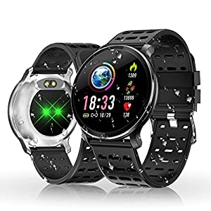 Smart Watch, HOLALEI Fitness Watch IP68 Waterproof Smartwatch 1.3 Inch IPS Color Screen with Heart Rate Monitor, Sleep Monitor, Activity Tracker Pedometer SMS Call Notification for iOS Android-Silver