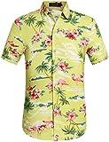 SSLR Herren Flamingos Blumen Freizeit Aloha Hawaii Hemd (XXX-Large, Grün)