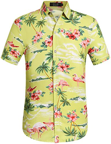 SSLR Herren Flamingos Blumen Freizeit Aloha Hawaii Hemd (XXXX-Large, Grün) (Blumen-hawaii-shirt)