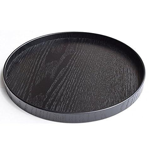 Super UD Serviertablett aus Holz, sehr dekorativ, rund, für Lebensmittel, Kaffee oder Tee, holz, schwarz, S