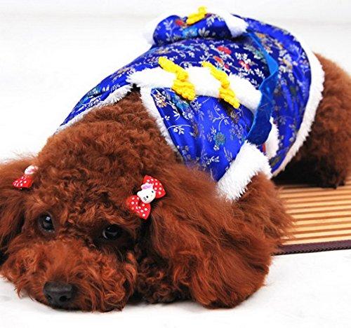 ranphy New Jahr Fellbesatz Winter Hundemantel chinesischen Tang Kleidung Pet Hund Kostüm kaltem Wetter Jacke Junge (Verkauf Mädchen Auf Stiefel)