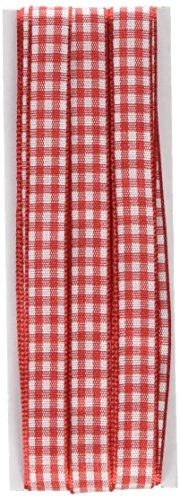 Prym Gingham Überprüfen Decor Band-Mischgewebe, Polyester, Rot/Weiß, 10mm, 4m (Band Rot)