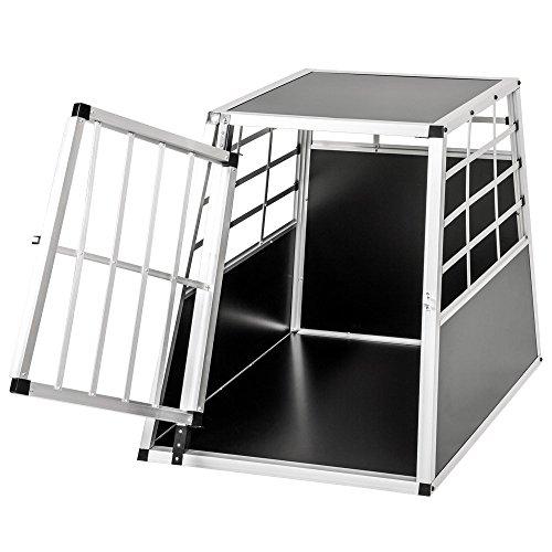 LARS360 Alu Hundetransportbox Hundebox Reisebox Transportbox Gitterbox mit MDF Platten für PKW Transport Kleiner Haustier - XL Größe Mit 1Türig Schwarz (B69*H65*T91 cm)