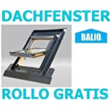 Dachfenster Balio Schwingfenster mit Eindeckrahmen und Rollo (Verdunkelungsrollo) 78x112 cm (VKR Konzern Rooflite Velux)
