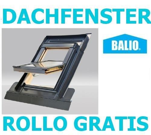 fakro rollo Dachfenster Balio Schwingfenster mit Eindeckrahmen und Rollo ( Verdunkelungsrollo ) 66x112 cm (VKR Konzern Rooflite Velux)