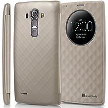 LG G4 Quick Circle Funda - GreatShield [LX SHIFT] alta calidad De cuero del tirón Cubierta con el sueño y la vigilia función para LG G4 (Oro)