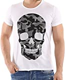 Red Bridge Herren T-Shirt Casual Camo Skull Motiv mit Strasssteinen Shirt (XL, Weiß)