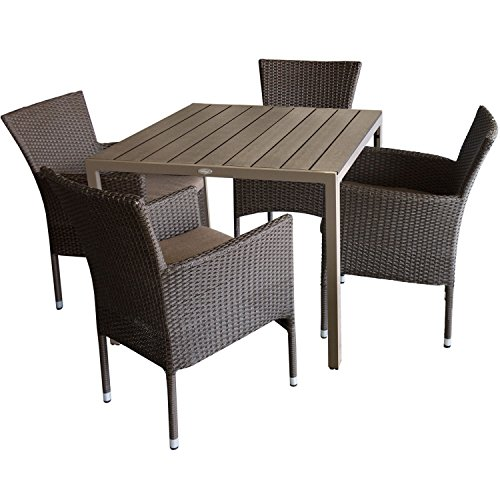 5tlg. Gartengarnitur Aluminium Gartentisch 90x90cm mit Polywood Tischplatte Mokka + Rattansessel, stapelbar, Polyrattanbespannung, braun-meliert inkl. Sitzkissen