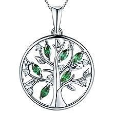 YL Lebensbaum Kette Damen-925 Sterling Silber Halskette mit Smaragd Stammbaum Anhänger Kette Weihnachtsgeschenke für Frauen Mädchen Mutter, Kettenlänge 45-48 CM