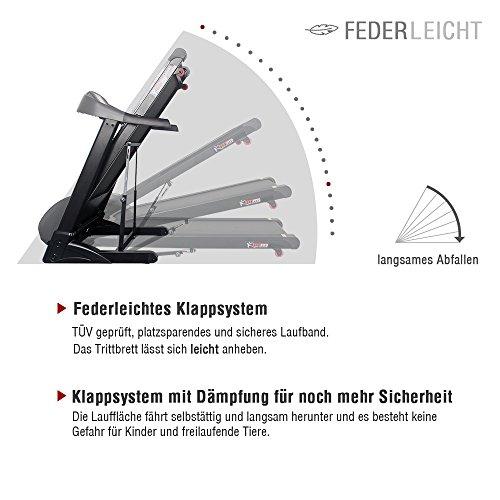Pfingstangebot bis 05.06! Fitifito 8500 Profi Laufband 7PS 22km/h mit LED Bildschirm, Dämpfungssystem, 5 Trainingsmodulen inkl. HRC – Klappbar, Schwarz - 6