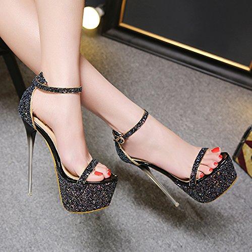 GTVERNH-neri scarpe con tacchi alti molto alto sottile scarpe con tacchi 15cm impermeabilizzare i sandali dew il banchetto scarpe,trentaquattro Thirty-seven