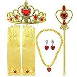 Bascolor Prinzessin Belle Kostüm ZubehörSet Belle Handschuhe Ohrring Kaiserkrone Zauberstab Halskette Prinzessin Belle Schmuck für Kinder Mädchen