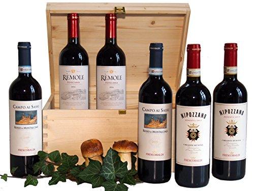 Regalo Vini Pregiati Della Toscana Frescobaldi in Cassetta Legno - 6 Bottiglie - Confezioni Regalo Vini Pregiati - cod 23a