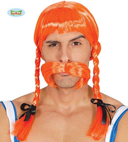Guirca Rotblonde Wikinger Perücke orange zum Gallier Kostüm für Herren Karneval Fasching Party (Orange Perücke Kostüm)