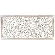 DRW DonRegaloWeb Mandala Rectangular de Madera con Espejos Color Blanco decapado 120X60X2 cm