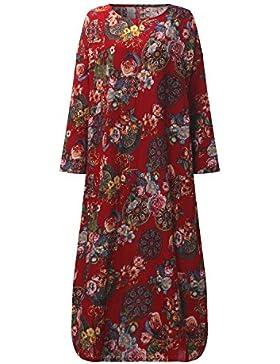 StyleDome Donna Vestito Lungo Abito Maxi Floreale Casual Largo Elegante Cotone Manica Lunga
