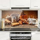 Bilderwelten Spritzschutz Glas - Frühstückstisch - Quer 1:2, Wandbild Küchenrückwand Küchenspiegel Küchenspritzschutz Glasrückwand Küche Spritzschutz Herd, Größe HxB: 59cm x 120cm
