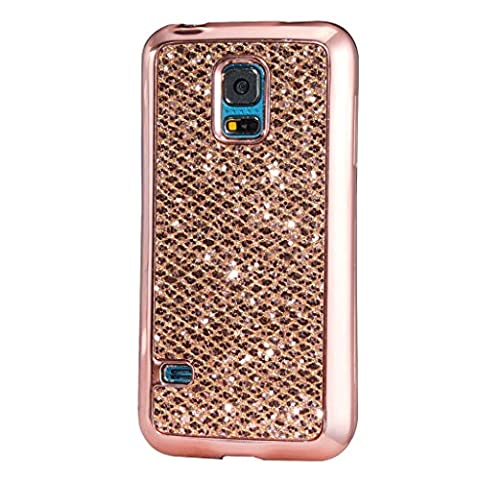 Samsung Galaxy S5 MUTOUREN case premium silicone cover Flexible Soft TPU cover Clear Bumper TPU Soft Case Rubberdurable bling sparking Silicone Skin Cover Case-red