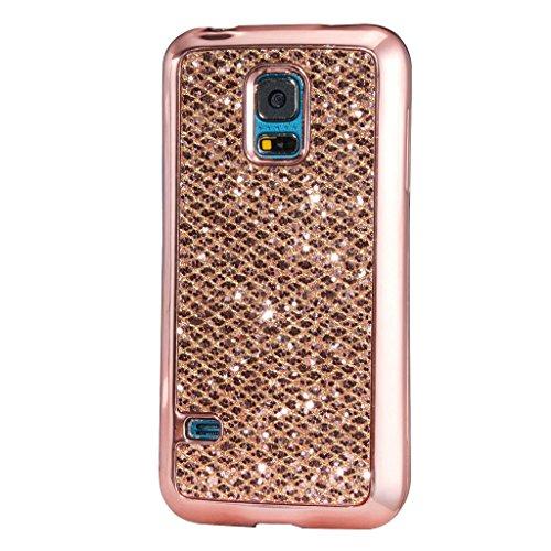 MUTOUREN Samsung Galaxy S5 Mini Mini Hülle Überzug Plating Glitter Strass Hülle Luxus Glänzend Funkeln Bling Bling Plating Hard Hardskin Schutz Handy Hülle Case Tasche Case Schutzhülle Etui Bumper für (Glitter Mini Schwarz Hat Top)