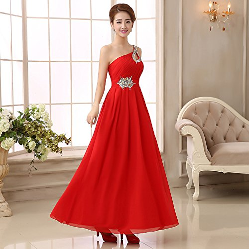 drasawee Damen Lang Chiffon Abendkleid One Shoulder Ball Party Brautjungfer Kleid Rot