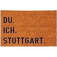 DU. ICH. STUTTGART. Kokos-Fußmatte Fußabtreter Teppich 40x60 cm Geschenk Umzug Geburtstag