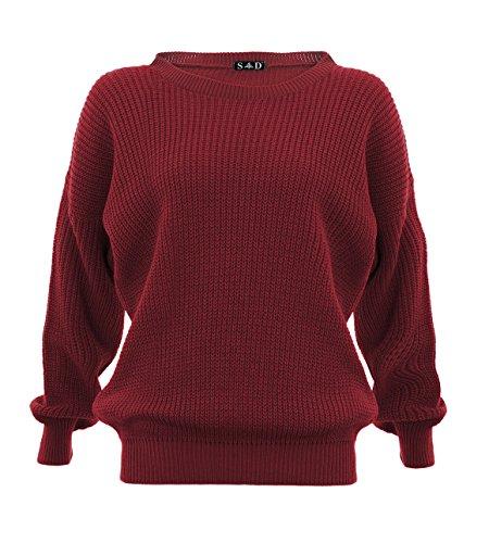 Style Divaa® Maglione da donna, Wine M/L