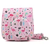 ele ELEOPTION Protective Case for Fujifilm Instax Mini 8 8+ / Mini 9 Instant Camera - Premium Synthetic PU Leather Bag, Beautiful Painting Pattern Instax Camera Cover with Removable Strap (Flamingo, Pink)