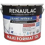 Peinture murale monocouche 12 L mat blanc extreme - Lessivable - RENAULAC