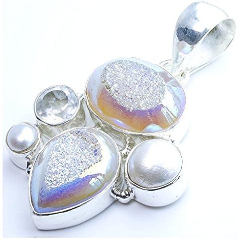 stargems (TM) naturale titanio Druzy, Fiume perla e topazio bianco design unico 925argento Sterling ciondolo 21/2