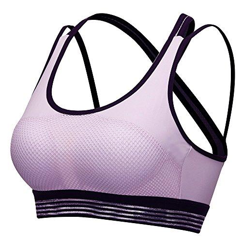 Damen sports bh SIHOHAN sports Büstenhalter atmungsaktiver bequem bh mit Kreuzentwurf(S,Lila) (32d Push-up-bh)